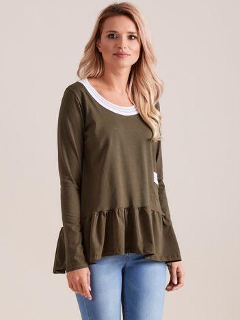 Khaki bluzka z baskinką