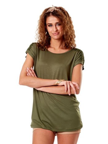 Khaki bluzka z koronkową wstawką na rękawach