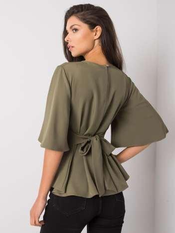 Khaki bluzka z wiązaniem Mayssa RUE PARIS