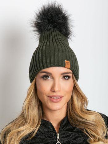 Khaki czapka z wełną