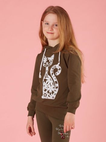 Khaki długa bluza z kapturem