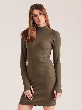 Khaki dopasowana sukienka z półgolfem