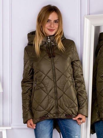 Khaki kurtka z pikowaniem
