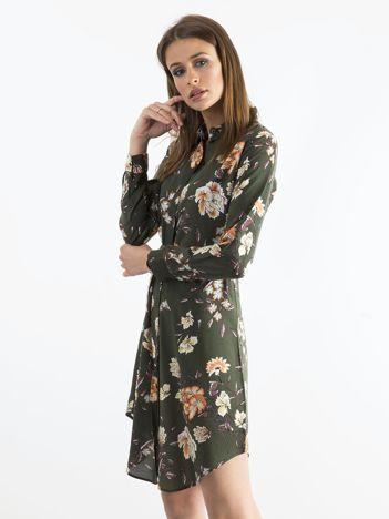 Khaki kwiatowa szmizjerka