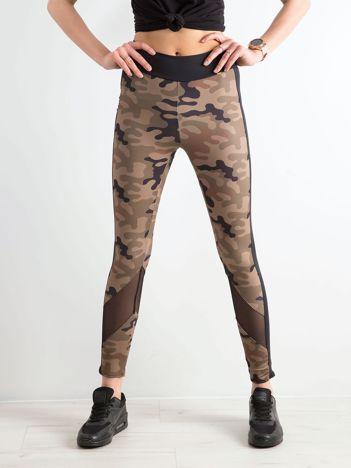 Khaki legginsy we wzór militarny BY O LA LA