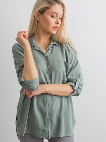 Khaki luźna koszula damska