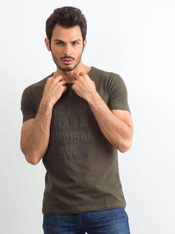Khaki męska koszulka z napisem