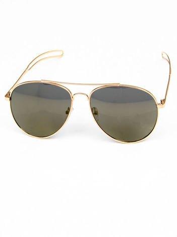 Khaki okulary w stylu PILOTKI AVIATORY lustrzanka