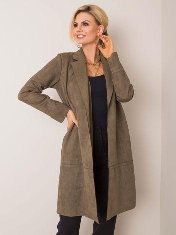 Khaki płaszcz zamszowy Sellina STITCH & SOUL