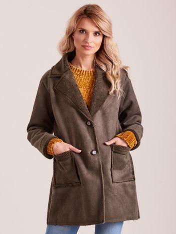 Khaki płaszcz ze sztucznego futra
