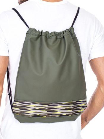 Khaki plecak worek z materiałowym modułem