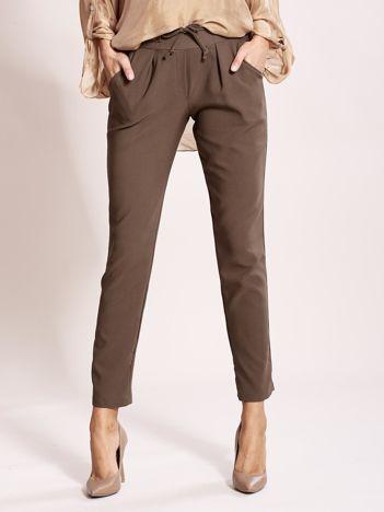 Khaki spodnie joggersy z troczkami