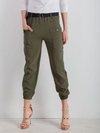 Khaki spodnie ze ściągaczami