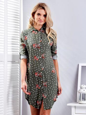 Khaki sukienka koszulowa w drobny kwiatowy wzór