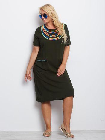 Khaki sukienka plus size Emerald