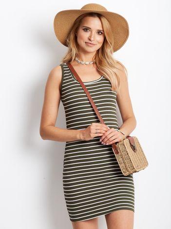 Khaki sukienka w prążek w paski
