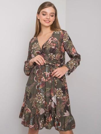 Khaki sukienka z dekoltem V Agnes OCH BELLA