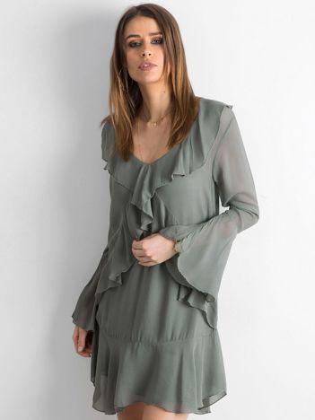 Khaki sukienka z falbanami