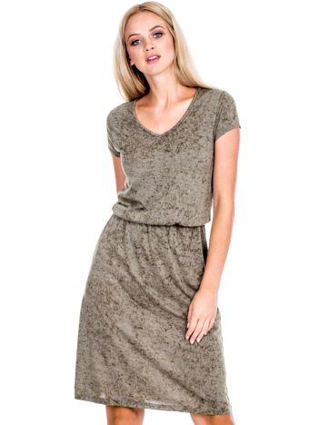 Khaki sukienka z marszczeniem