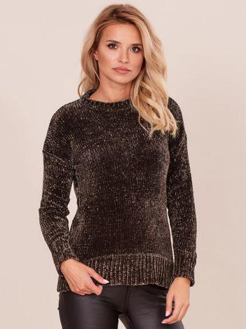 Khaki szenilowy sweter