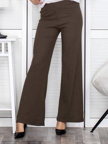 Khaki szerokie spodnie w prążek