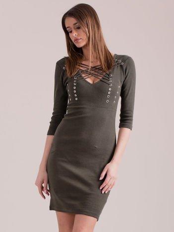 Khaki sznurowana sukienka w prążek