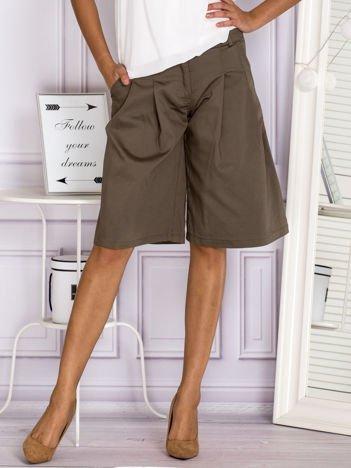 Khaki szorty culottes z zakładkami
