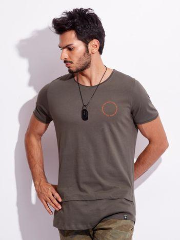 Khaki t-shirt dla mężczyzny z napisem