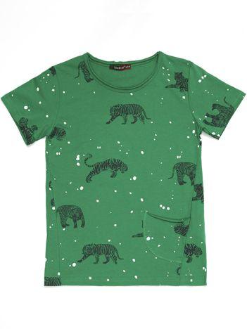 Khaki t-shirt dziecięcy w tygrysy