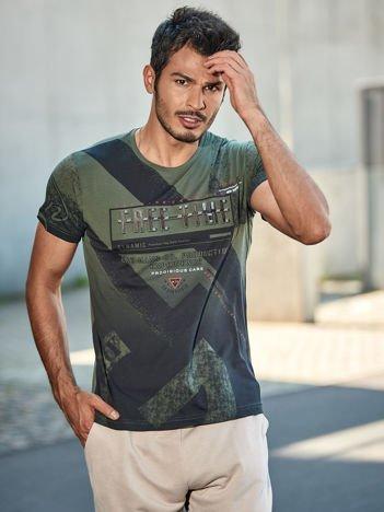 Khaki t-shirt męski z wypukłym napisem FREE TIME