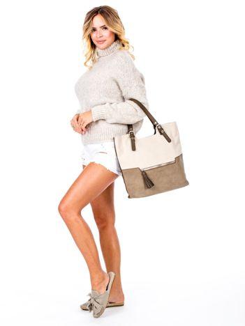 Khaki torba z materiałową wstawką