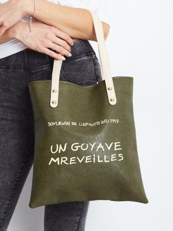 Khaki torba z napisem