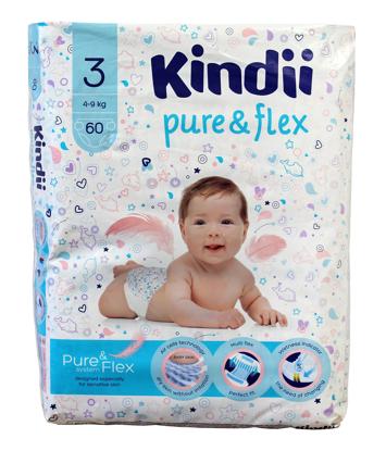 """Kindii Pure & Flex Pieluchy jednorazowe 3 (4-9kg)  1op.-60szt"""""""