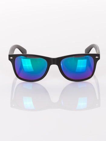 Klasyczne czarne okulary przeciwsłoneczne WAYFARER lustrzanki niebiesko-zielone
