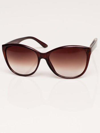 Klasyka Brązowe Okulary Przeciwsłoneczne Kocie Oczy