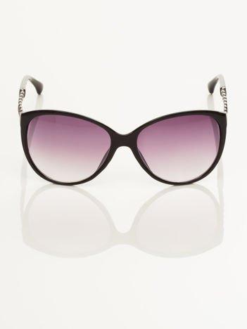 Klasyka i elegancja czarne okulary przeciwsłoneczne typu MUCHY z łańcuchem na zausznikach