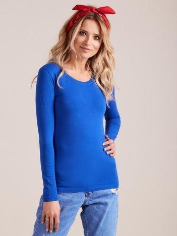 Kobaltowa bluzka z długim rękawem