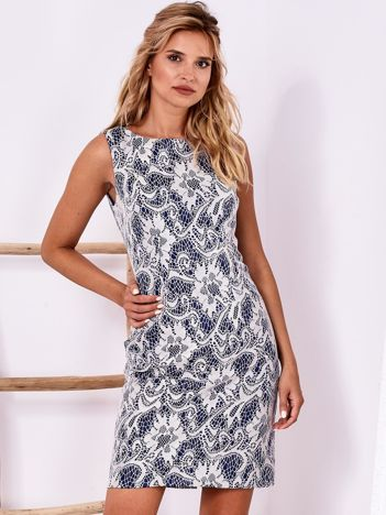 Kobaltowa koronkowa dopasowana sukienka