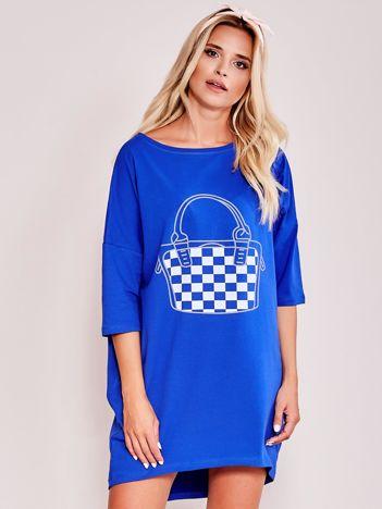 Kobaltowa luźna dresowa sukienka