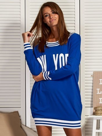 Kobaltowa sukienka NEW YORK