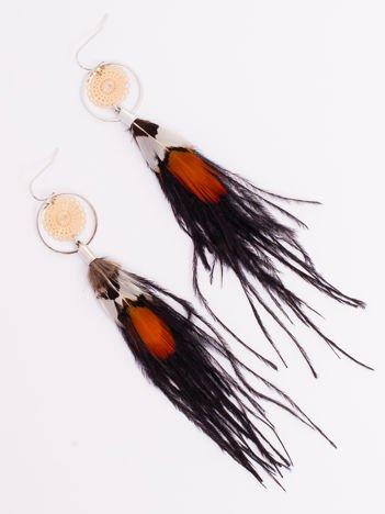 Kolczyki Ażurowe BOHO Pióra Złote Długie Wiszące Feathers
