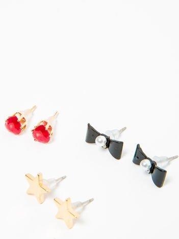 Kolczyki damskie złote z cyrkoniami zestaw 3 par kokardki, gwiazdki, serduszka