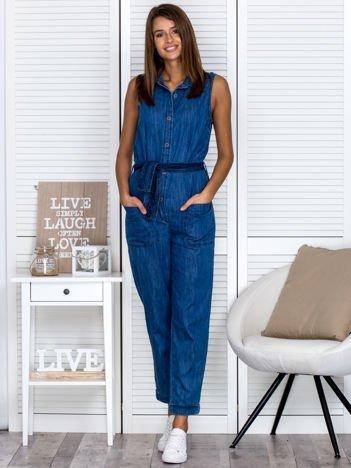 Kombinezon damski jeansowy niebieski