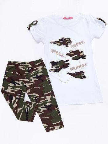 Komplet dla dziewczynki biały tunika i długie spodnie moro