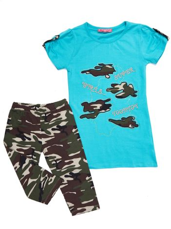Komplet dla dziewczynki turkusowy tunika i długie spodnie moro