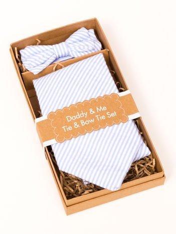 """Komplet mucha + krawat dla małych i """"dużych"""" chłopców w ozdobnym pudełku na prezent"""