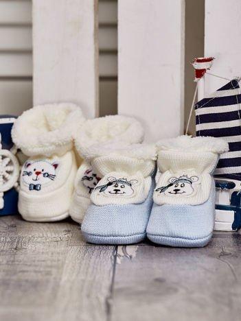 Komplet ocieplanych bucików dziecięcych ecru-jasnoniebieski