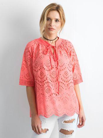 Koralowa ażurowa bluzka