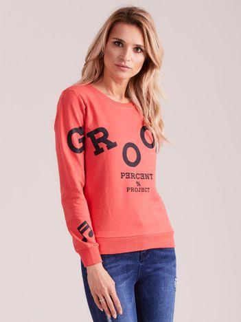 Koralowa bluza damska z nadrukiem