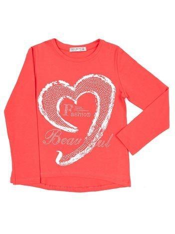 Koralowa bluzka dziewczęca ze srebrnym sercem i dżetami